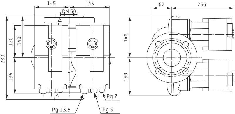 Насос циркуляционный Wilo Stratos-D 50/1-9 (2090466)