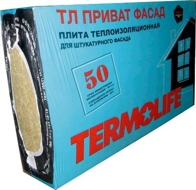 Теплоизоляционная вата TERMOLIFE ФАСАД 80 мм. для фасадов под штукатурку плотность (145 кг/м3) цены