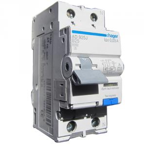 HAGER Дифференциальный автоматический выключатель 1+N, 25A, 30 mA, B, 6 КА, A, 2м (AD925J) цены