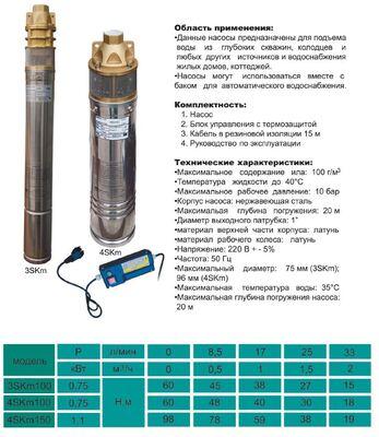 Насос скважинный вихревой VOLKS pumpe 4SKm100 0.75кВт + кабель 15м и пульт цена