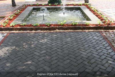 Тротуарная плитка Кирпич Антик 200х100 (черный) (6 см) цена