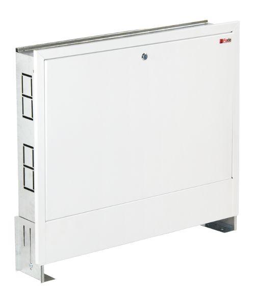 Коллектор в сборе (с насосом Wilo Star-RS 25/6-130) для подключения системы теплый пол FADO (SEN02) + FADO Шкаф коллекторный встроеный 480х625х130 (C11)