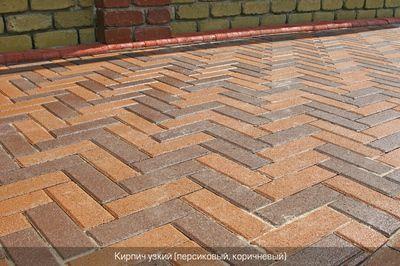 Тротуарная плитка Кирпич Узкий (персиковый) 210х70 (6 см) цена