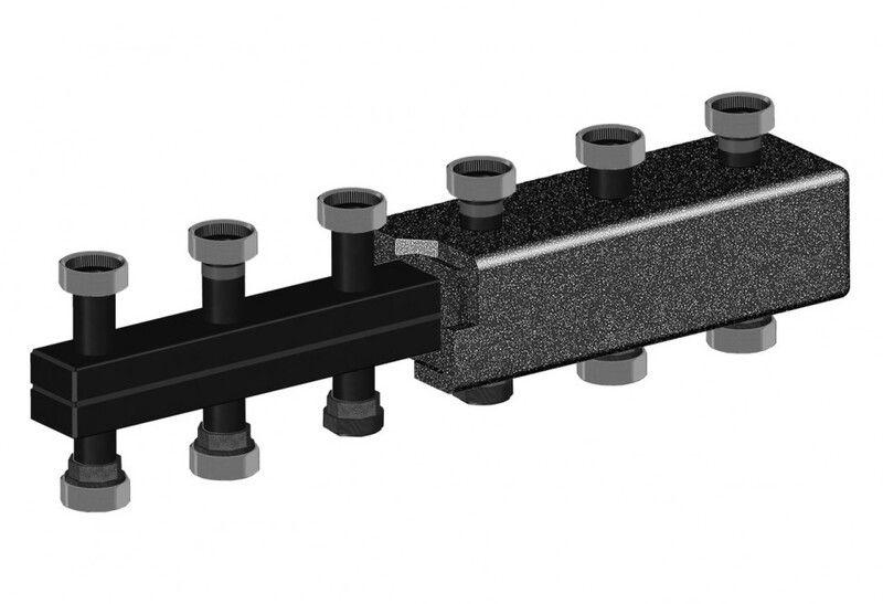 Стандартный коллектор на 3 отоп. контура из чёрной стали Meibes (66301.2)