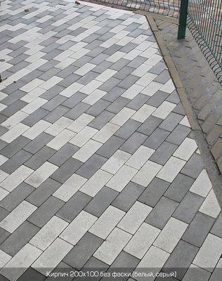 Тротуарная плитка Кирпич Стандартный без фаски (белый) 200х100 (6 см) цена