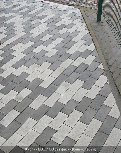 Тротуарная плитка Кирпич Стандартный без фаски (белый) 200х100 (6 см)