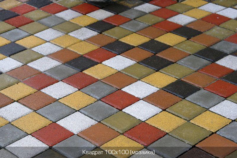 Тротуарная плитка Квадрат Малый 100х100 (красный) (6 см)