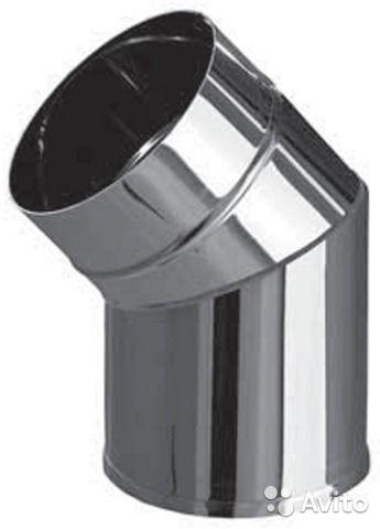 Колено из нержавеющей стали с термоизоляцией в оцинкованной стали 45 град; 0,5 мм ф220/280