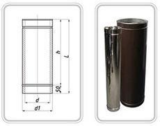 ТРУБА из нержавеющей стали (AISI 304) с термоизоляцией в оцинкованной стали 0,5 мм; L=1000 мм ф220/280
