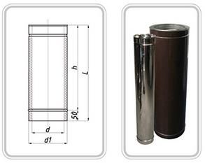 ТРУБА из нержавеющей стали (AISI 321) с термоизоляцией в нержавеющем кожухе 0,8 мм; L=300 мм ф220/280