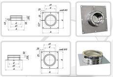 Подставка настенная 0,5мм из нержавеющей стали (AISI 321) с термоизоляцией в нержавеющем кожухе (AISI 321) ф220/280