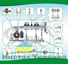 """Коллекторная система с насосом ECO 001 (1"""" х9) подключение 3/4"""