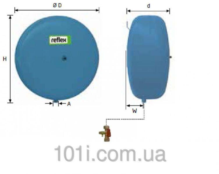 Гидроаккумулятор вертикальный Reflex Refix C-DE 7270910 12L C-DE (синий) 10 бар (мембрана не сменная)