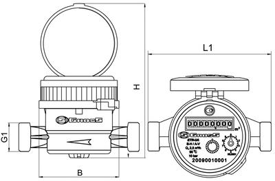 Счётчик водяной GROSS mini ETR-UA 15/110 без сгонов (для горячей воды) цена