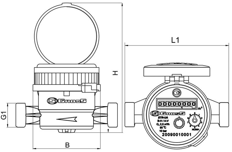 Счётчик водяной GROSS mini ETR-UA 15/110 без сгонов (для горячей воды)
