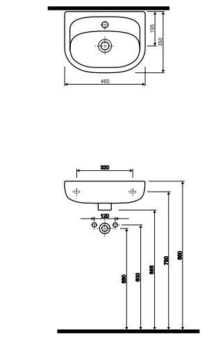 Умывальник Kolo NOVA (46*35) с отверстием