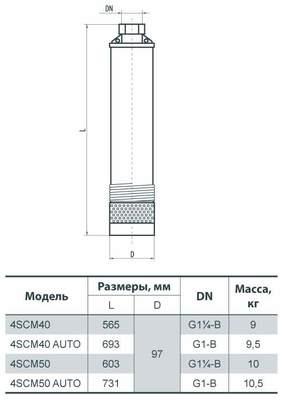 """Глубинный насос """"SPRUT"""" 4SCM 40 AUTO цена"""