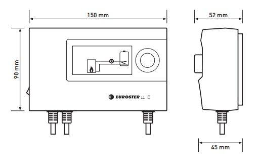 Euroster 11E Термоконтр. управл.насосом ЦО или бака-акк.ГВС, система Антистоп, ЖК экран, датчик темп.
