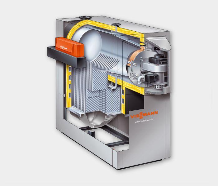 Газовый котел Viessmann Vitocrossal 300 187 кВт с Vitotronic 200 (без горелки компактный)