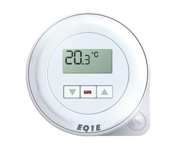 Euroster Q1E Терморег. комнатный 10А 5-45°C, ЖК экран и светодиодн. индикатор, внутрен. датчиком темп. воздуха,2 уровня темп.в сутки, питание от сети 230В.