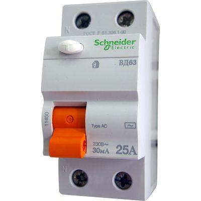 Schneider electric Дифференциальное реле ВД63, 2P, 30mA, 25A (11450) цена
