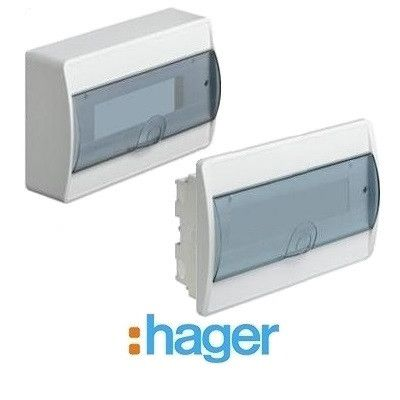 HAGER Щит встроеный Сosmos 1 ряд 12 модулей прозрачные двери (VR112TD)