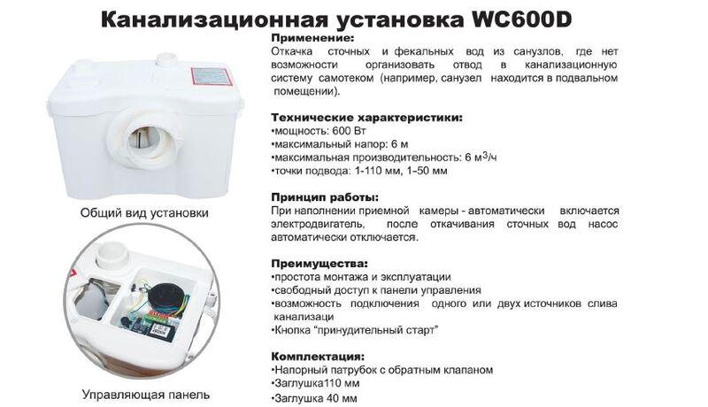 Канализационная установка VOLKS pumpe WC3 ( сололифт )