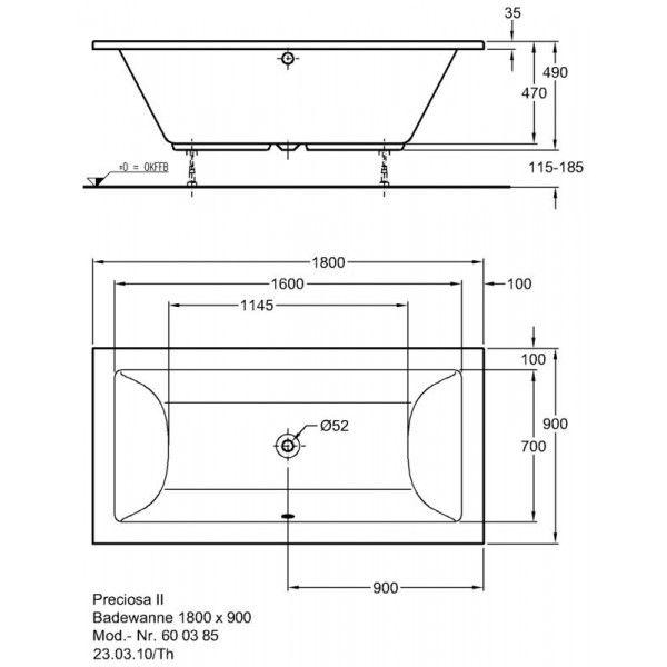 Акриловая ванна Keramag Preciosa II 1800 x 900 мм