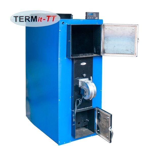 Твердотопливный котел длительного горения ТЕРМІТ-ТТ 60 кВт Стандарт (с теплоизоляцией, обшивкой, вентилятором и автоматикой)