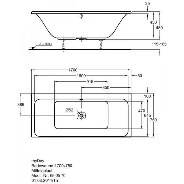 Акриловая ванна Keramag myDay 1700 x 750 мм