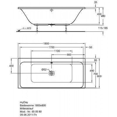 Акриловая ванна Keramag myDay 1800 x 800 мм цены