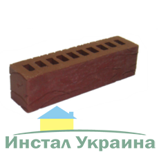 Клинкерный кирпич половинка Керамейя Рустика Рубин 13