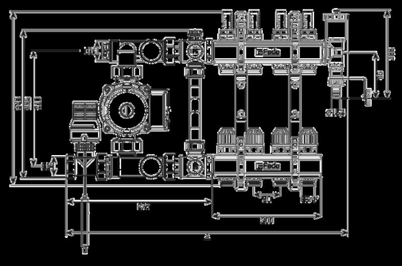 Коллектор в сборе (без насоса) для подключения системы теплый пол FADO (SEN03)