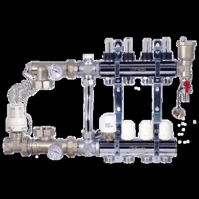Коллектор в сборе (с насосом Wilo Star-RS 25/6-130) для подключения системы теплый пол FADO (SEN02) + FADO Шкаф коллекторный встроеный 480х625х130 (C11) цена