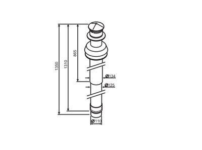Buderus Коаксиальный вертикальный комплект с ветрозащитой участок 1350 мм, Ф 80/125 Buderus (7716050080) цена