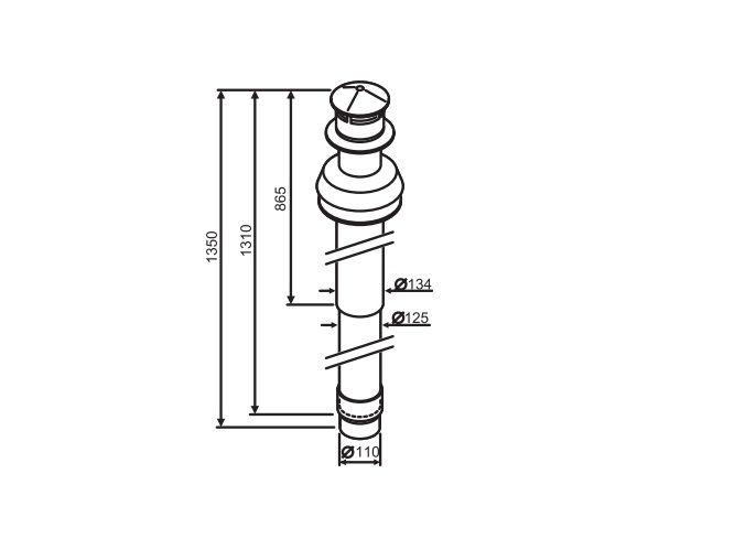 Buderus Коаксиальный вертикальный комплект с ветрозащитой участок 1350 мм, Ф 80/125 Buderus (7716050080)