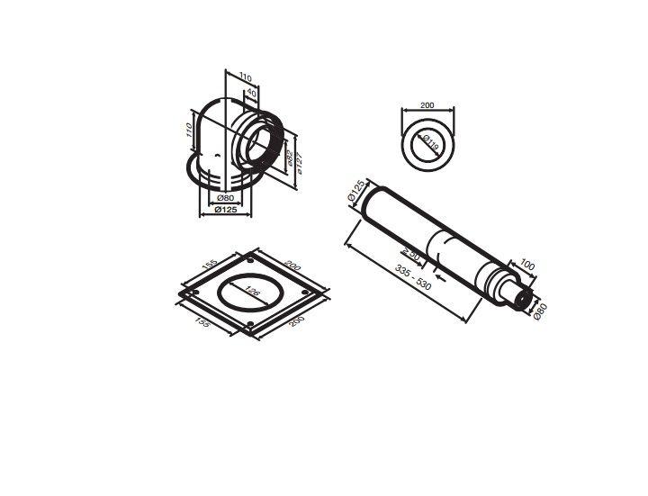 Buderus (конд.) AZB 918 Коаксиальный горизонтальний комплект, Ф 80/125 мм (7719003673)