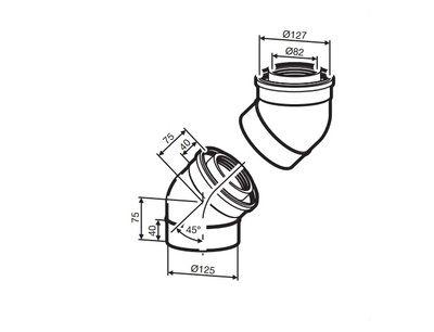 Buderus (конд.) AZB 608/1 Коаксиальный отвод 45° (2 шт.), Ф 80/125 мм (7719002767) цена