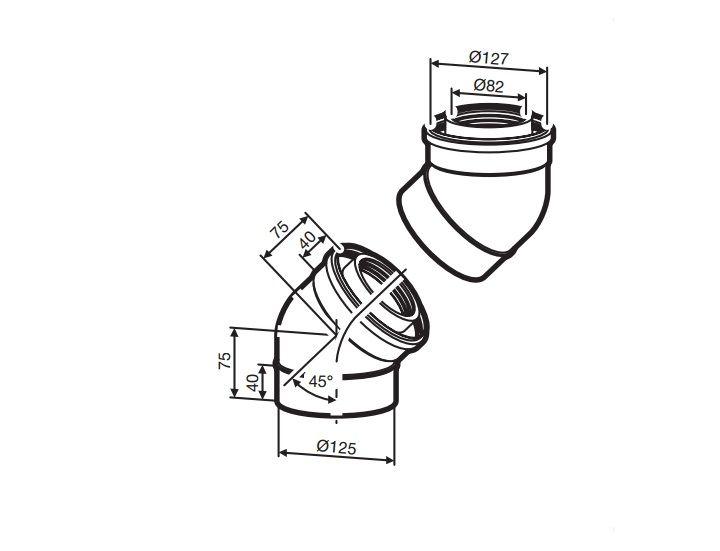 Buderus (конд.) AZB 608/1 Коаксиальный отвод 45° (2 шт.), Ф 80/125 мм (7719002767)
