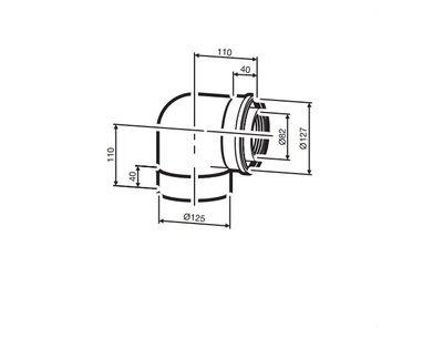 Buderus (конд.) AZB 607/1 Коаксиальный отвод 90°, Ф 80/125 мм (7719002766) цена