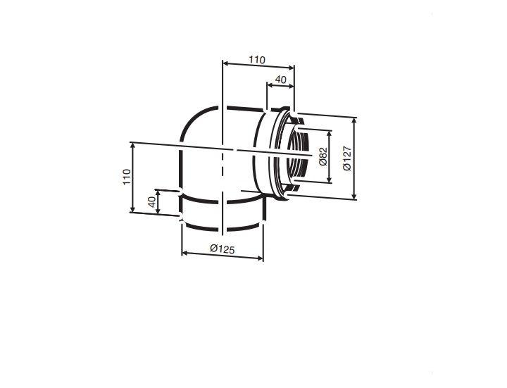 Buderus (конд.) AZB 607/1 Коаксиальный отвод 90°, Ф 80/125 мм (7719002766)