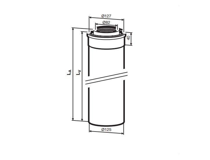 Buderus (конд.) AZB 606/1 Коаксиальный удлинитель 2000 мм, Ф 80/125 мм (7719002765)