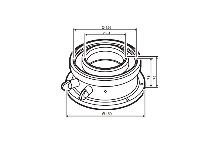 Buderus (конд.) AZB 931 / Адаптер для подключения коаксиальных дымоходов Ф 80/125 мм к котлам с подключением Ф 80/125 мм (7716780184)