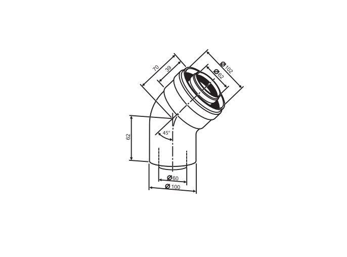 Buderus Коаксиальный отвод (2шт.) Ф 60/100 - 45° (7736995071)