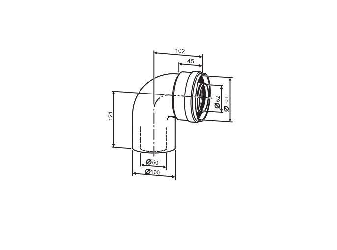 Buderus Коаксиальный отвод (1 шт.) Ф 60/100 - 90° (7736995079)