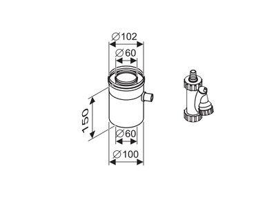 Buderus Отвод для конденсата коаксиальный / горизонтальный, Ф 60/100 (7716995087) цена