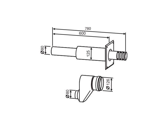 Buderus Горизонтальный двухтрубный комплект 780 мм, Ф 80/80 Buderus (7736995097)
