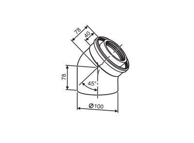 Buderus (конд.) Коаксильный отвод 45° Ф 60/100 (7747210021) цена