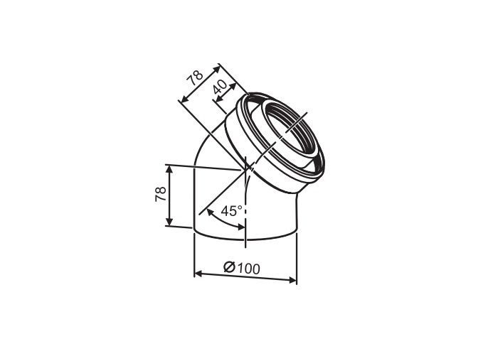 Buderus (конд.) Коаксильный отвод 45° Ф 60/100 (7747210021)