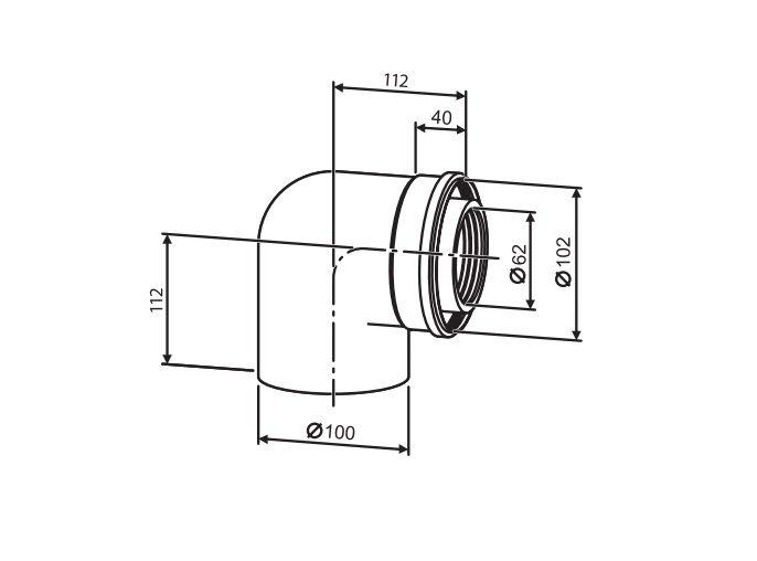 Buderus (конд.) Коаксильный отвод 90°, Ф 60/100 (7747210022)